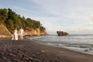 wedding couple on st lucia black sand beach